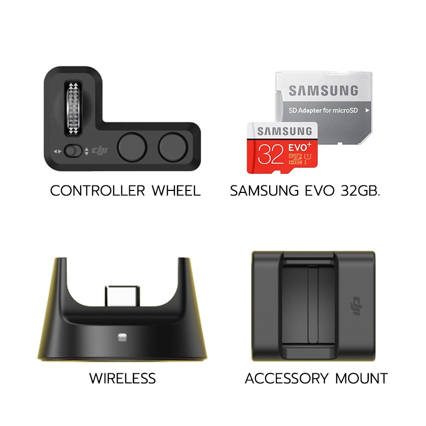 Osmo Pocket Part 13 Expansion Kit | (Wireless, Accesory Mount, Controller Wheel, Samsung Evo 32GB)