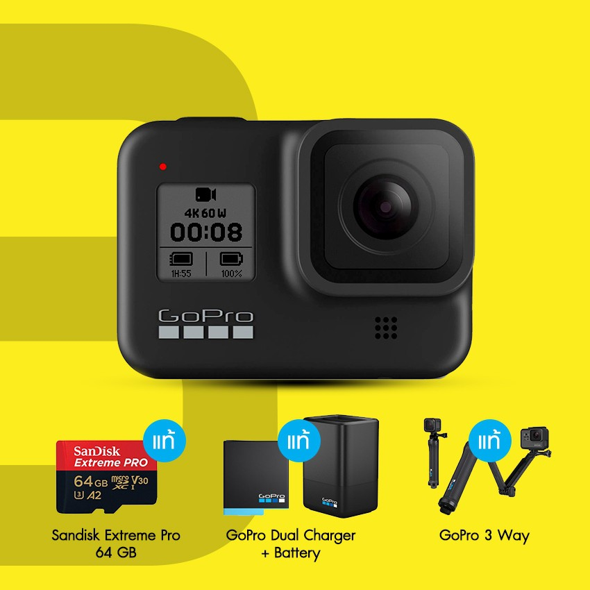 Gopro Hero 8 Black Travel Pack 2 Dual Charer + Battery, Gopro 3 Way, Sandisk Extreme Pro 64GB ประกันศูนย์ไทย