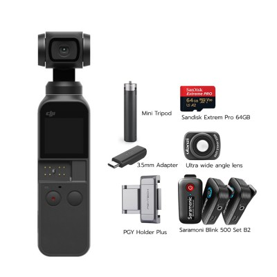 Osmo Pocket Set XXL พร้อม Ultra wide angle lens, PGY Holder Plus, Mini Tripod, Saramoni Wireless Mic Blink B2, 3.5mm Adapter, Sandisk Extrem Pro 64GB (170/90)