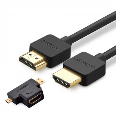 Ugreen HDMI 2.0 4K ยาว 2 เมตร พร้อมตัวแปลง Micro / Mini HDMI