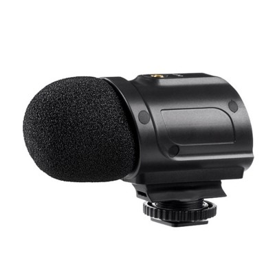 Mini Stereo Condenser Microphone with Integrated Shockmount, Low- Cut Filter & Battery-Free