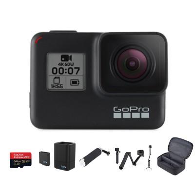 Hero 7 (Set B) Black พร้อม Sandiks Extreme Pro 64GB, แบตเตอรี่เสริมพร้อมที่ชาร์จ, ทุ่นลอยน้ำ, ไม้เซลฟี่ 3 way แท้ และ กระเป๋า GoPro Compact Case