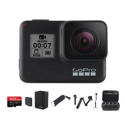 GoPro Hero 7 Black พร้อมเมมโมรี่ 64GB, แบตเตอรี่เสริมพร้อมที่ชาร์จ, ทุ่นลอยน้ำ, ไม้เซลฟี่ 3 way แท้ และ กระเป๋า Casey(OEM)