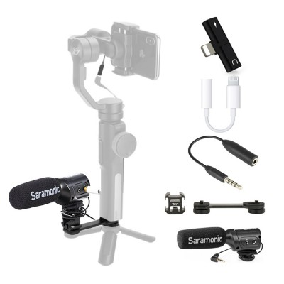 Live Streaming Set for Osmo Mobile 2, Smooth 4 [T Adpater Double Lightning, Lightning to 3.5mm , TRS to TRRS adaptor, SR-M3, 7K Hot Shoe]