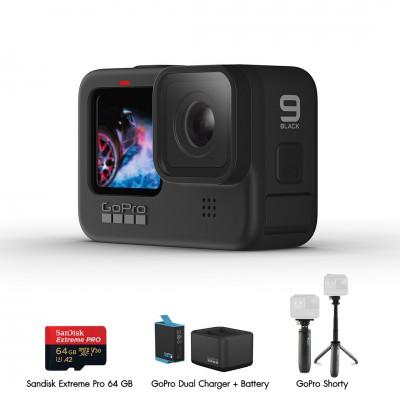 Gopro Hero 9 Black Travel Set 1 (Sandisk Extreme Pro 64GB, GoPro Shorty, แท่นชาร์จ และ แบตเตอรี่ GoPro) ประกันศูนย์ไทย