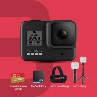 GoPro Hero 8 Black Special Bundle HERO 8 Black, Shorty, Head Strap, Sandisk Extreme 32GB , Battery เสริม ประกันศูนย์ไทย