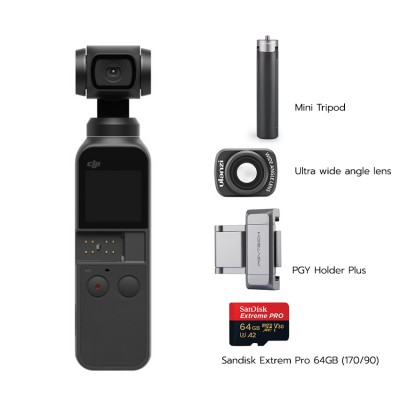 Osmo Pocket พร้อม Ultra wide angle lens, PGY Holder Plus, Mini Tripod, Sandisk Extrem Pro 64GB (170/90)