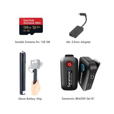 GoPro Hero 8 Black Set VLOG Single พร้อมไมค์ไวเลส Blink500 B1, Ulanzi Battery Grip, Mic 3.5mm Adapter, Sandisk Extreme Pro 128 GB ประกันศูนย์ไทย