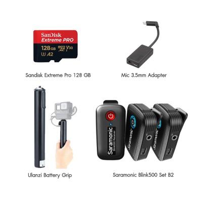 Hero 8 Black Set VLOG Double พร้อมไมค์ไวเลส Blink500 B2, Ulanzi Battery Grip, Mic 3.5mm Adapter, Sandisk Extreme Pro 128 GB