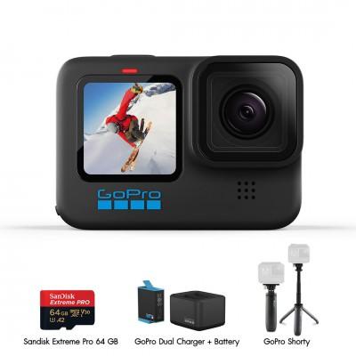 GoPro Hero 10 Black Travel Set 1 (Sandisk Extreme Pro 64GB, GoPro Shorty, แท่นชาร์จ และ แบตเตอรี่ GoPro) ประกันศูนย์ไทย