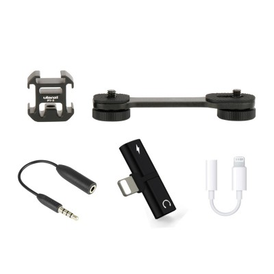 Live Streaming Set for Osmo Mobile 2, Smooth 4 [T Adpater Double Lightning, Lightning to 3.5mm , TRS to TRRS adaptor, 7K Hot Shoe]