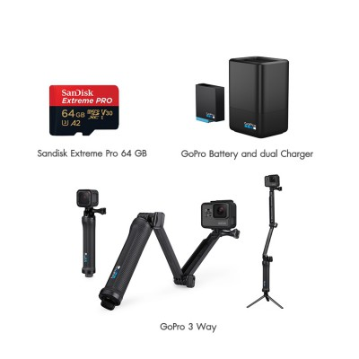 Gopro Hero 8 Black Travel Pack 2 Dual Charer + Battery, Gopro 3 Way, Sandisk Extreme Pro 64GB ประกันศูนย์ไทย