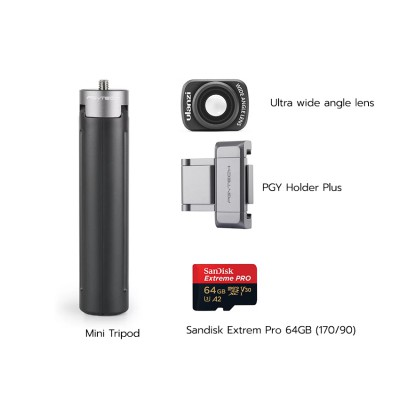 Osmo Pocket พร้อม Ultra wide angle lens, PGY Holder Plus, Mini Tripod, Sandisk Extrem Pro 64GB (170/90) ประกันศูนย์ไทย